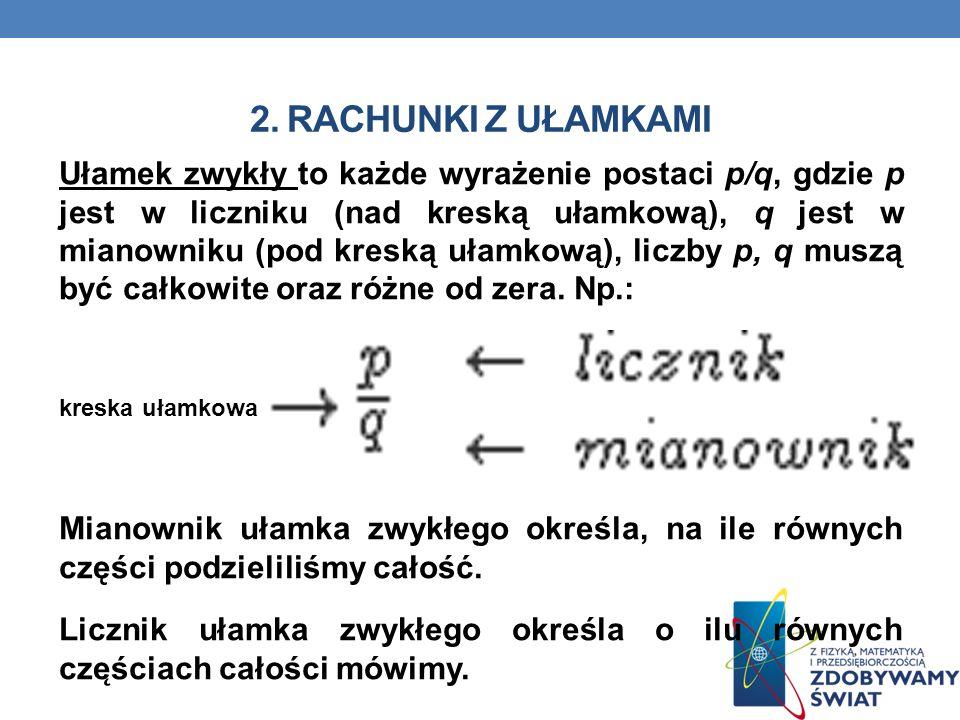 2. RACHUNKI Z UŁAMKAMI Ułamek zwykły to każde wyrażenie postaci p/q, gdzie p jest w liczniku (nad kreską ułamkową), q jest w mianowniku (pod kreską uł