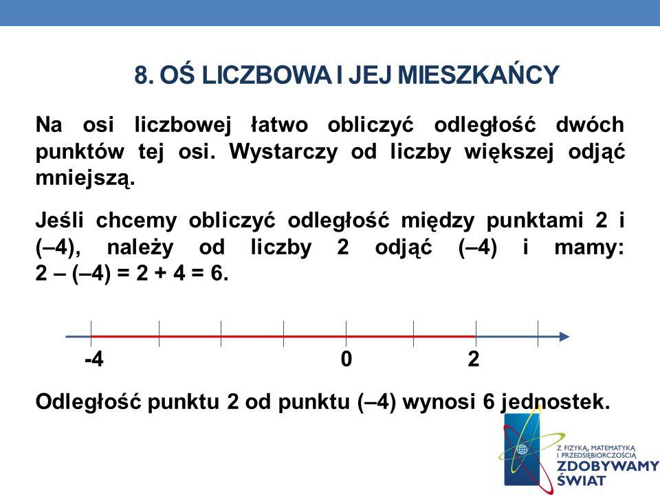 8.OŚ LICZBOWA I JEJ MIESZKAŃCY Na osi liczbowej łatwo obliczyć odległość dwóch punktów tej osi.