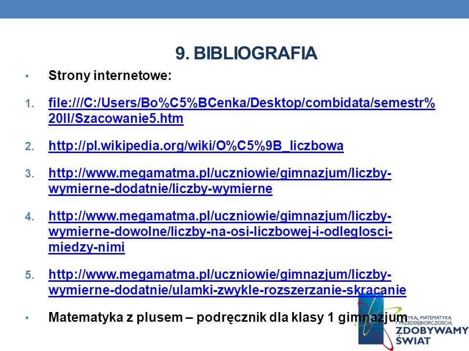 9. BIBLIOGRAFIA Strony internetowe: 1. file:///C:/Users/Bo%C5%BCenka/Desktop/combidata/semestr% 20II/Szacowanie5.htm file:///C:/Users/Bo%C5%BCenka/Des