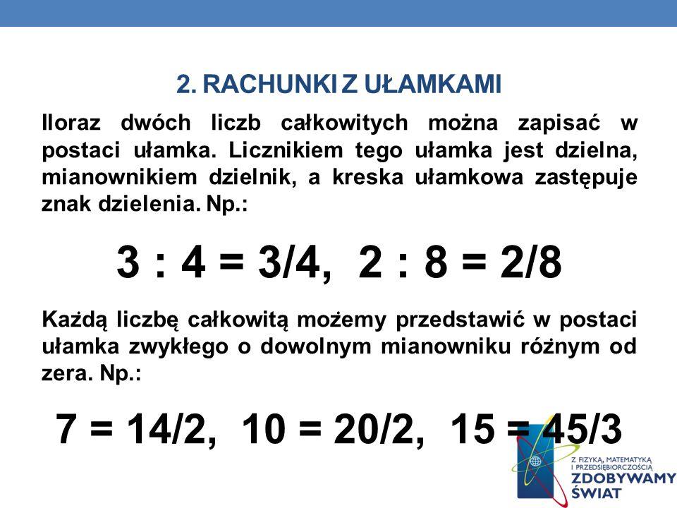 2. RACHUNKI Z UŁAMKAMI Iloraz dwóch liczb całkowitych można zapisać w postaci ułamka. Licznikiem tego ułamka jest dzielna, mianownikiem dzielnik, a kr