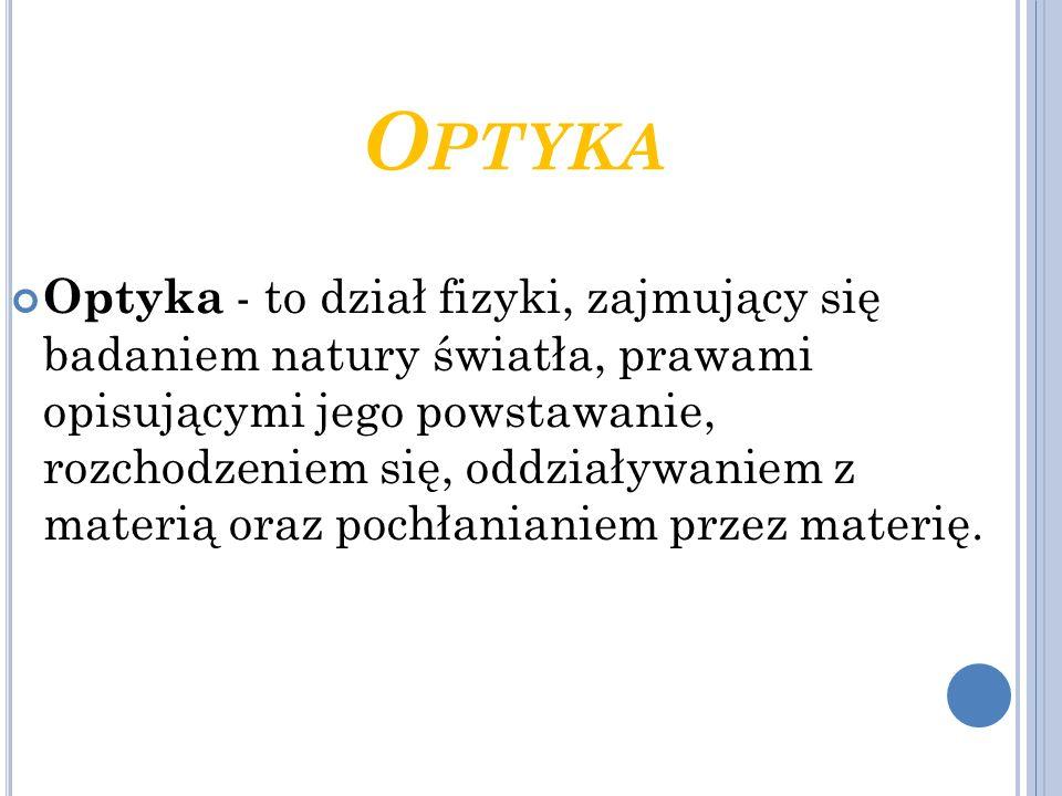 O PTYKA Optyka - to dział fizyki, zajmujący się badaniem natury światła, prawami opisującymi jego powstawanie, rozchodzeniem się, oddziaływaniem z mat