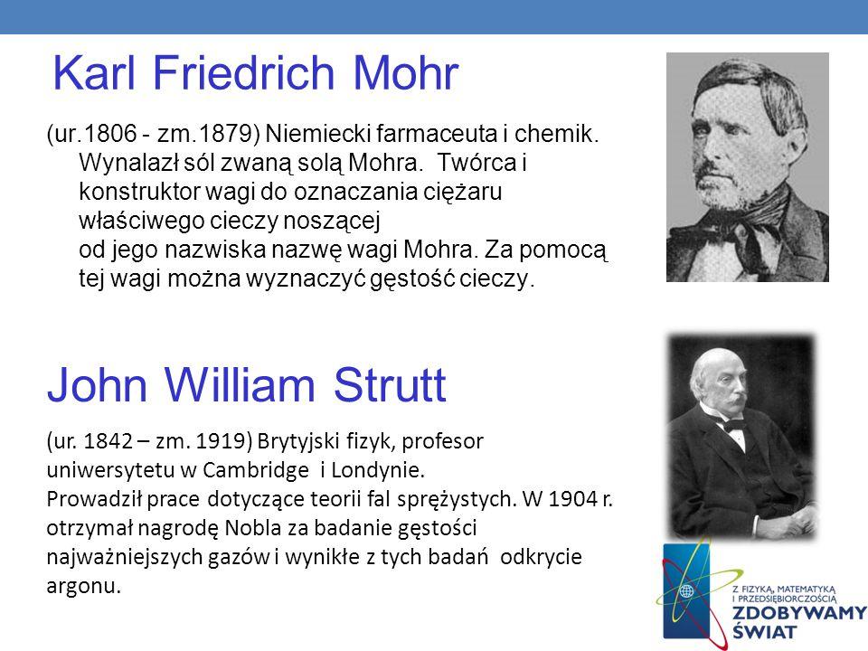 Karl Friedrich Mohr (ur.1806 - zm.1879) Niemiecki farmaceuta i chemik. Wynalazł sól zwaną solą Mohra. Twórca i konstruktor wagi do oznaczania ciężaru