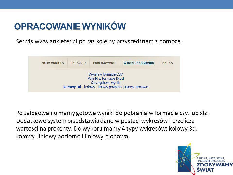 OPRACOWANIE WYNIKÓW Serwis www.ankieter.pl po raz kolejny przyszedł nam z pomocą. Po zalogowaniu mamy gotowe wyniki do pobrania w formacie csv, lub xl