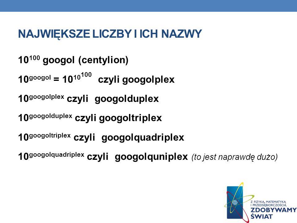 NAJWIĘKSZE LICZBY I ICH NAZWY 10 100 googol (centylion) 10 googol = 10 10 100 czyli googolplex 10 googolplex czyli googolduplex 10 googolduplex czyli