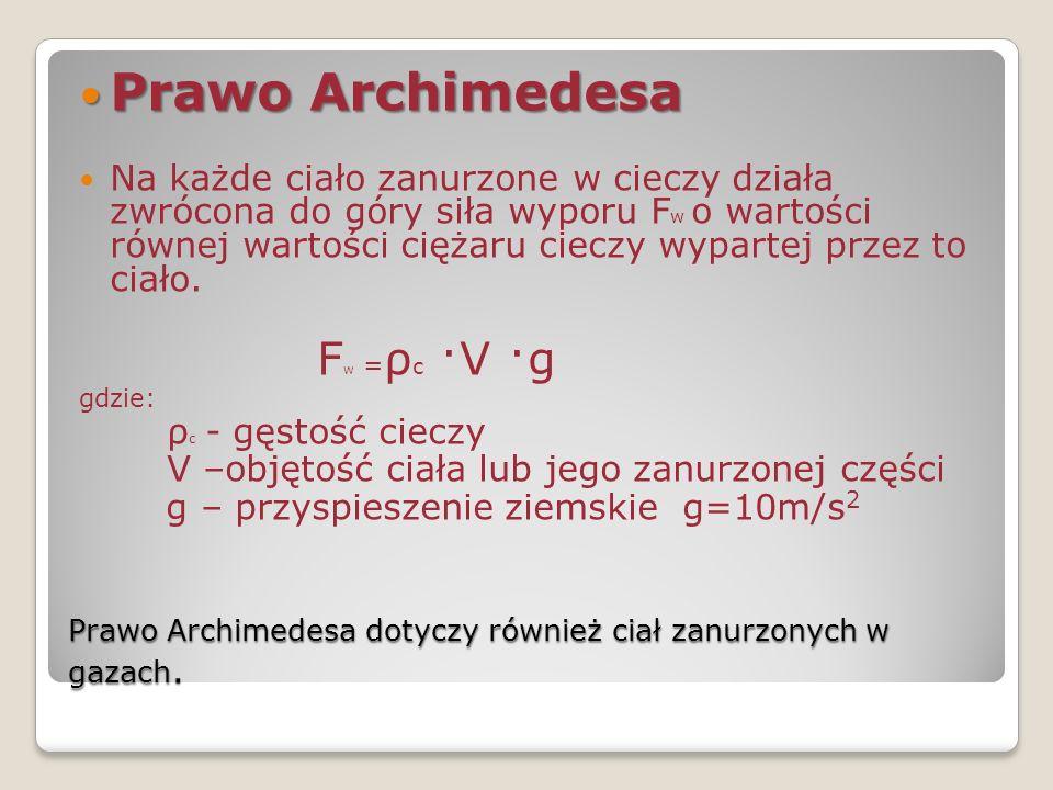 Prawo Archimedesa dotyczy również ciał zanurzonych w gazach. Prawo Archimedesa Prawo Archimedesa Na każde ciało zanurzone w cieczy działa zwrócona do