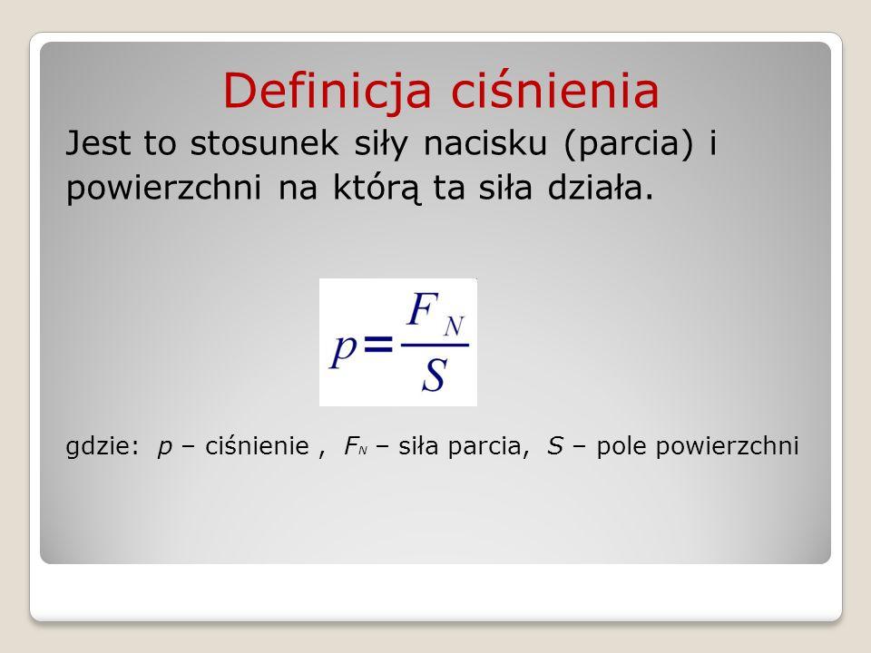 Definicja ciśnienia Jest to stosunek siły nacisku (parcia) i powierzchni na którą ta siła działa. gdzie: p – ciśnienie, F N – siła parcia, S – pole po