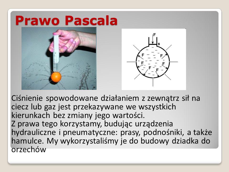 Prawo Pascala Ciśnienie spowodowane działaniem z zewnątrz sił na ciecz lub gaz jest przekazywane we wszystkich kierunkach bez zmiany jego wartości. Z
