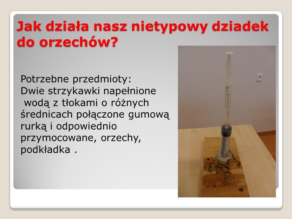 Jak działa nasz nietypowy dziadek do orzechów? Potrzebne przedmioty: Dwie strzykawki napełnione wodą z tłokami o różnych średnicach połączone gumową r