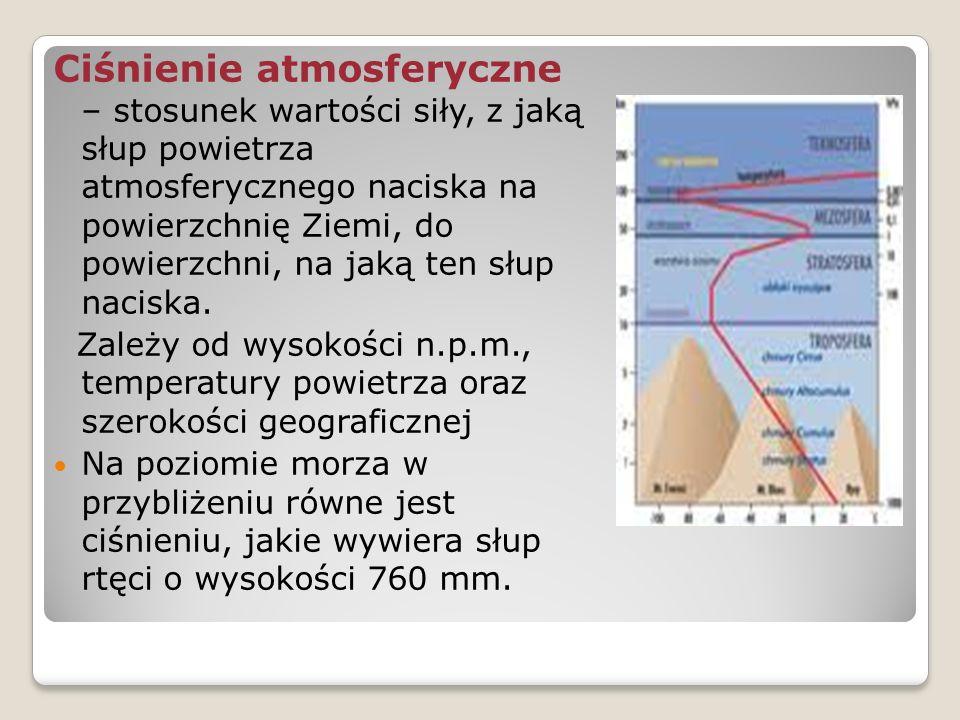 Ciśnienie atmosferyczne – stosunek wartości siły, z jaką słup powietrza atmosferycznego naciska na powierzchnię Ziemi, do powierzchni, na jaką ten słu