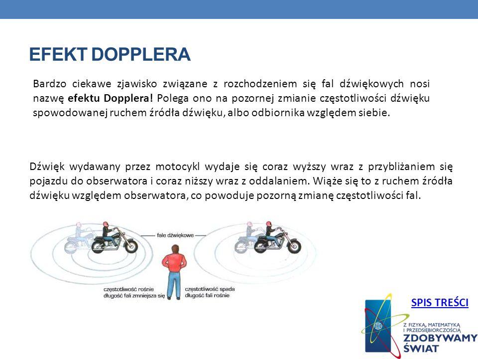 EFEKT DOPPLERA Dźwięk wydawany przez motocykl wydaje się coraz wyższy wraz z przybliżaniem się pojazdu do obserwatora i coraz niższy wraz z oddalaniem.