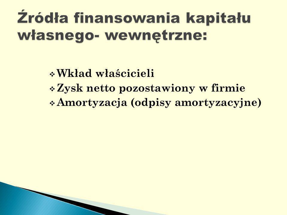 Wkład właścicieli Zysk netto pozostawiony w firmie Amortyzacja (odpisy amortyzacyjne)