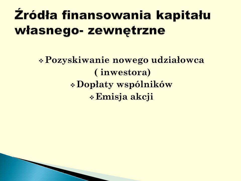 Pozyskiwanie nowego udziałowca ( inwestora) Dopłaty wspólników Emisja akcji
