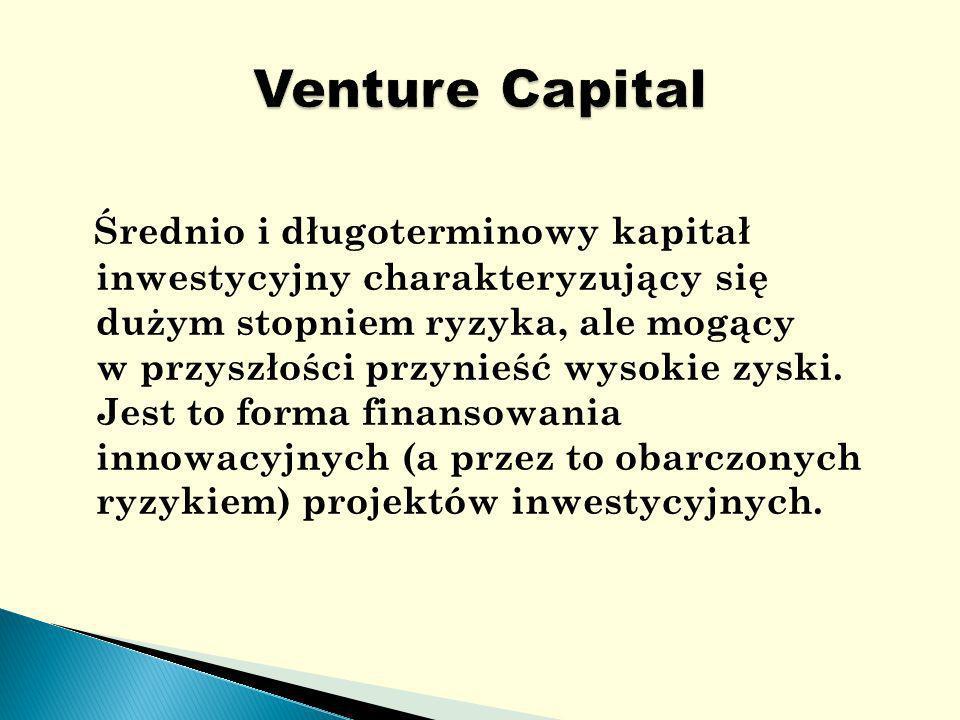 Średnio i długoterminowy kapitał inwestycyjny charakteryzujący się dużym stopniem ryzyka, ale mogący w przyszłości przynieść wysokie zyski.