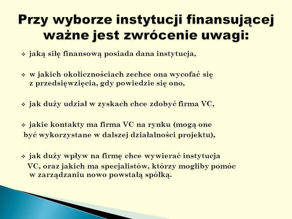 jaką siłę finansową posiada dana instytucja, w jakich okolicznościach zechce ona wycofać się z przedsięwzięcia, gdy powiedzie się ono, jak duży udział w zyskach chce zdobyć firma VC, jakie kontakty ma firma VC na rynku (mogą one być wykorzystane w dalszej działalności projektu), jak duży wpływ na firmę chce wywierać instytucja VC, oraz jakich ma specjalistów, którzy mogliby pomóc w zarządzaniu nowo powstałą spółką.