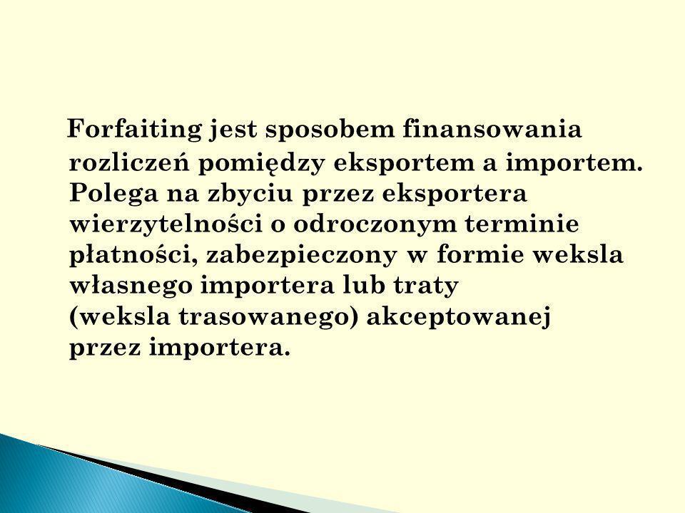 Forfaiting jest sposobem finansowania rozliczeń pomiędzy eksportem a importem.