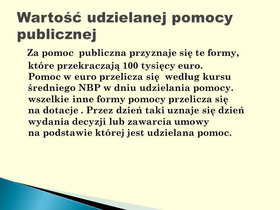 Za pomoc publiczna przyznaje się te formy, które przekraczają 100 tysięcy euro.