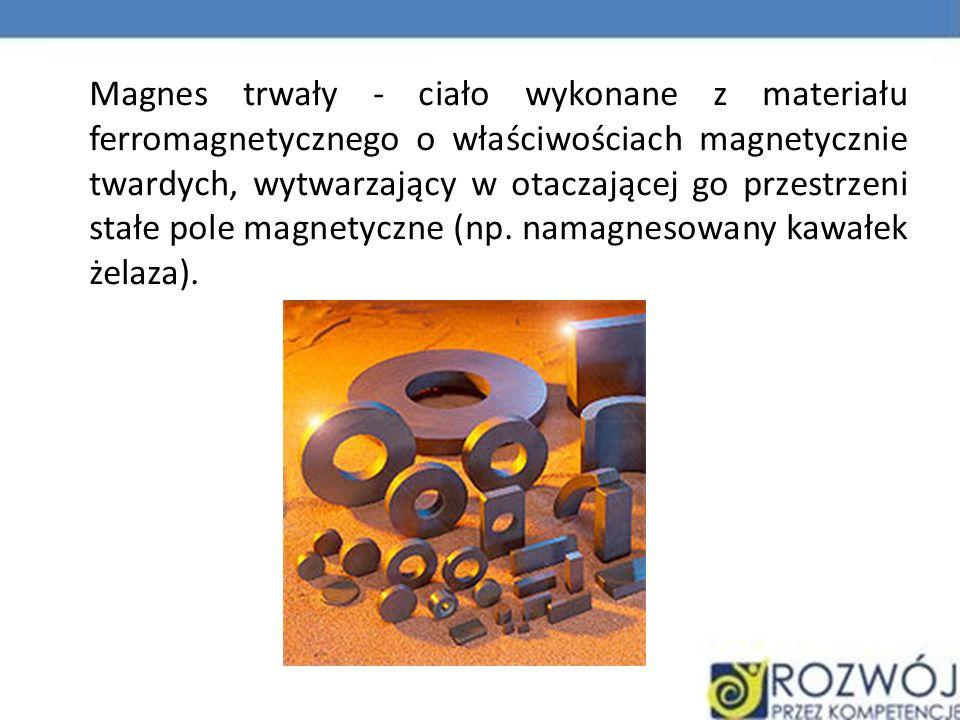 Magnes trwały - ciało wykonane z materiału ferromagnetycznego o właściwościach magnetycznie twardych, wytwarzający w otaczającej go przestrzeni stałe