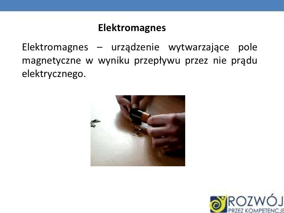 Elektromagnes – urządzenie wytwarzające pole magnetyczne w wyniku przepływu przez nie prądu elektrycznego. Elektromagnes