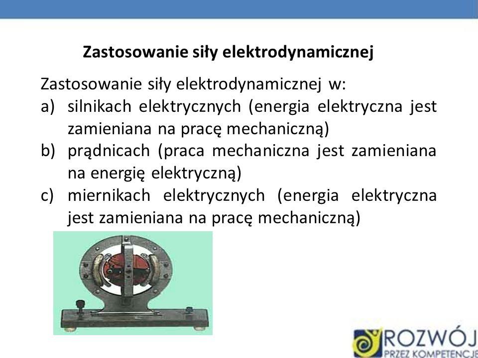 Zastosowanie siły elektrodynamicznej Zastosowanie siły elektrodynamicznej w: a)silnikach elektrycznych (energia elektryczna jest zamieniana na pracę m
