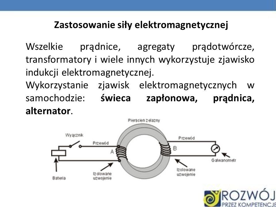 Wszelkie prądnice, agregaty prądotwórcze, transformatory i wiele innych wykorzystuje zjawisko indukcji elektromagnetycznej. Wykorzystanie zjawisk elek
