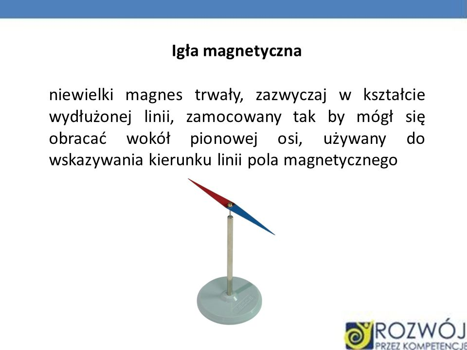 Igła magnetyczna niewielki magnes trwały, zazwyczaj w kształcie wydłużonej linii, zamocowany tak by mógł się obracać wokół pionowej osi, używany do ws