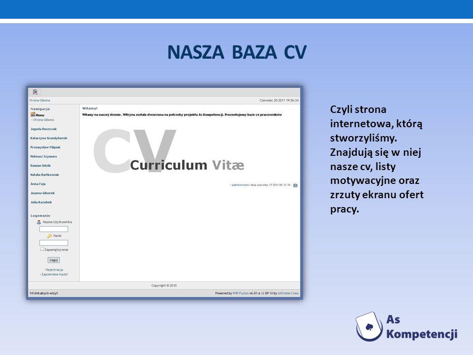 NASZA BAZA CV Czyli strona internetowa, którą stworzyliśmy. Znajdują się w niej nasze cv, listy motywacyjne oraz zrzuty ekranu ofert pracy.