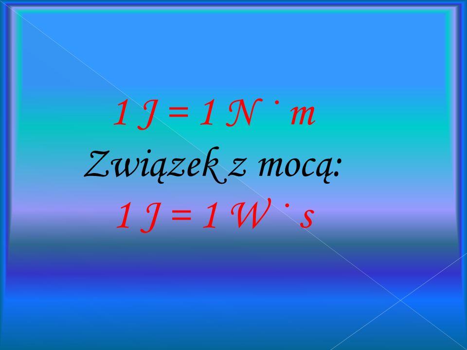 Jeden dżul to praca wykonana przez siłę o wartości 1 N przy przesunięciu punktu przyłożenia siły o 1 m w kierunku równoległym do kierunku działania si