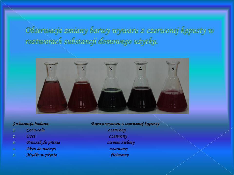 Obserwacje: Probówka 1:Po dodaniu octu do soku z jagód kolor zmienił się na czerwony Probówka 2: Bez zmian (dla porównania) Probówka3: Po dodaniu sody