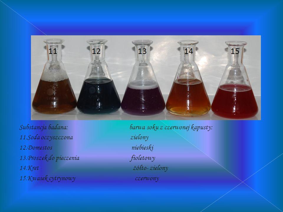 Substancja badana: Barwa wywaru z czerwonej kapusty: 6.Mleko jasny fiolet 7.Mleczko do mebli fioletowy 8.Vanish fioletowy 9.Cif zielony 10.Żlelatyna f