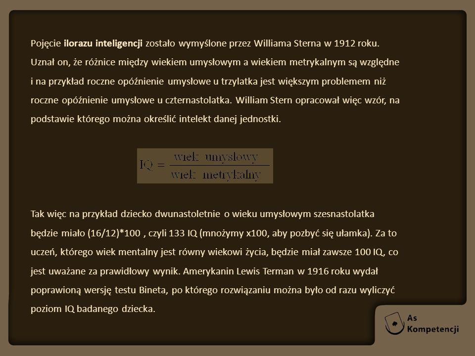 Pojęcie ilorazu inteligencji zostało wymyślone przez Williama Sterna w 1912 roku. Uznał on, że różnice między wiekiem umysłowym a wiekiem metrykalnym