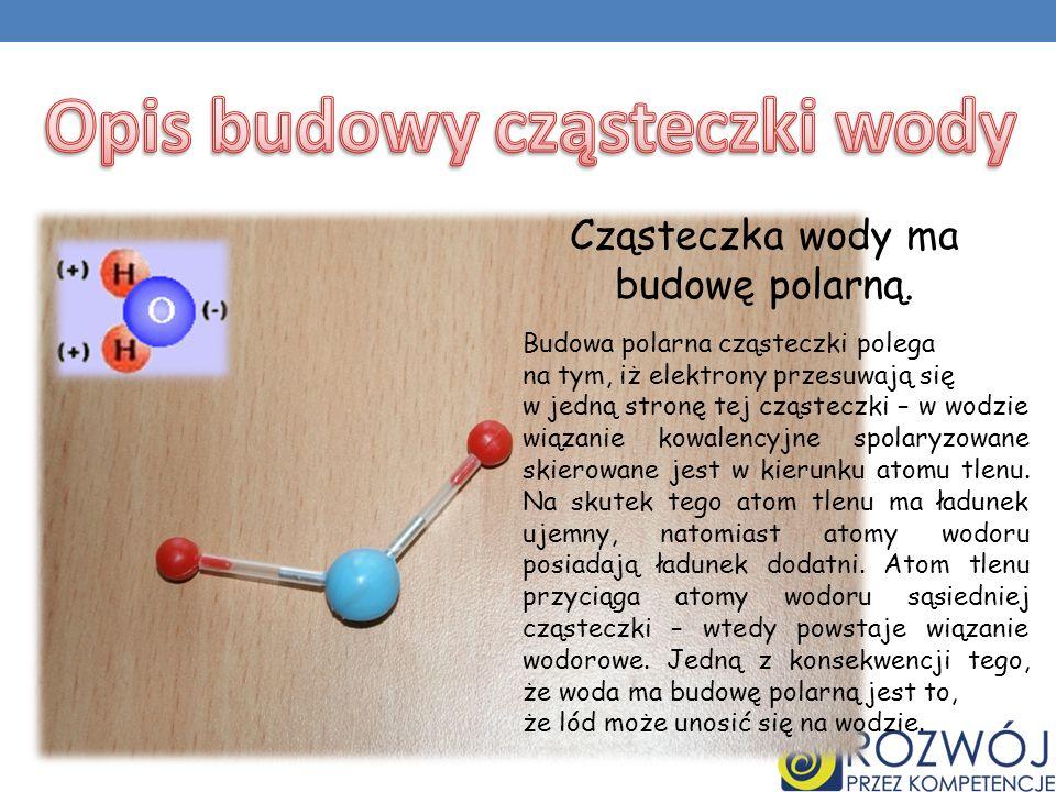 Budowa polarna cząsteczki polega na tym, iż elektrony przesuwają się w jedną stronę tej cząsteczki – w wodzie wiązanie kowalencyjne spolaryzowane skierowane jest w kierunku atomu tlenu.
