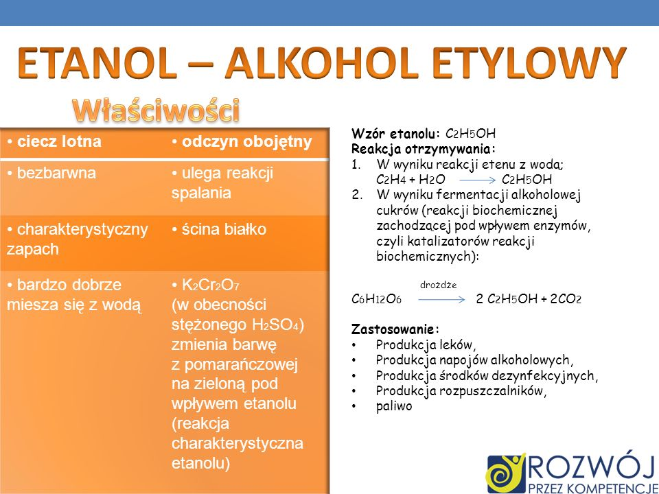 Wzór etanolu: C 2 H 5 OH Reakcja otrzymywania: 1.W wyniku reakcji etenu z wodą; C 2 H 4 + H 2 O C 2 H 5 OH 2.W wyniku fermentacji alkoholowej cukrów (reakcji biochemicznej zachodzącej pod wpływem enzymów, czyli katalizatorów reakcji biochemicznych): drożdże C 6 H 12 O 6 2 C 2 H 5 OH + 2CO 2 Zastosowanie: Produkcja leków, Produkcja napojów alkoholowych, Produkcja środków dezynfekcyjnych, Produkcja rozpuszczalników, paliwo