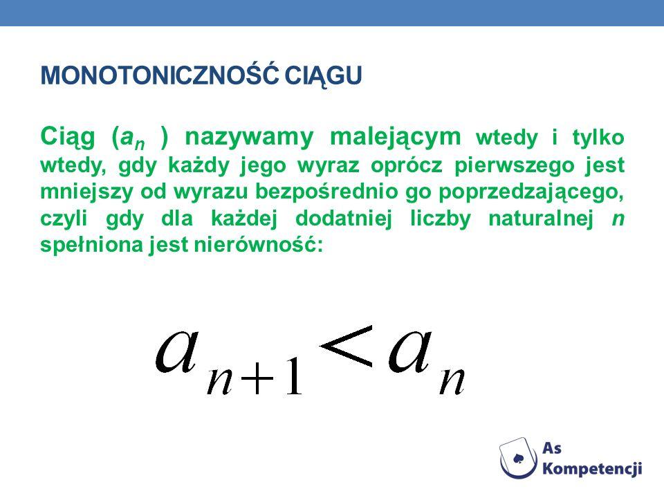 MONOTONICZNOŚĆ CIĄGU Ciąg (a n ) nazywamy malejącym wtedy i tylko wtedy, gdy każdy jego wyraz oprócz pierwszego jest mniejszy od wyrazu bezpośrednio g