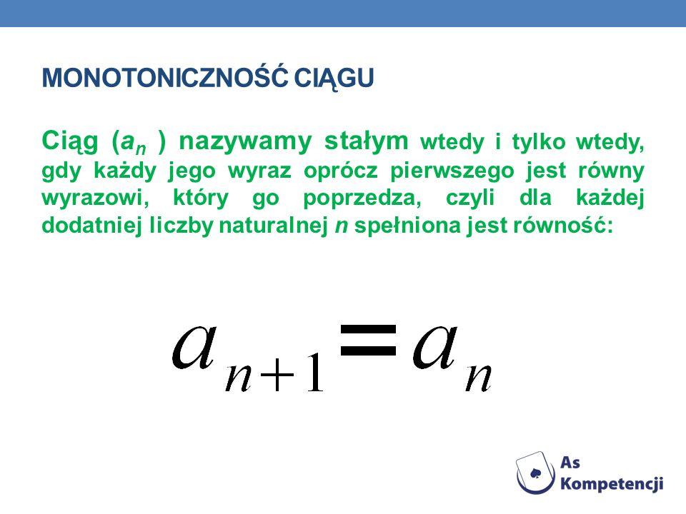 MONOTONICZNOŚĆ CIĄGU Ciąg (a n ) nazywamy stałym wtedy i tylko wtedy, gdy każdy jego wyraz oprócz pierwszego jest równy wyrazowi, który go poprzedza,