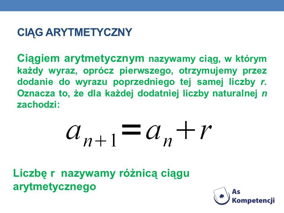 CIĄG ARYTMETYCZNY Ciągiem arytmetycznym nazywamy ciąg, w którym każdy wyraz, oprócz pierwszego, otrzymujemy przez dodanie do wyrazu poprzedniego tej s