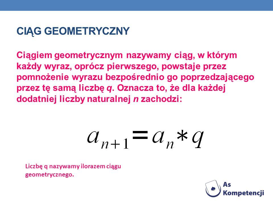 CIĄG GEOMETRYCZNY Ciągiem geometrycznym nazywamy ciąg, w którym każdy wyraz, oprócz pierwszego, powstaje przez pomnożenie wyrazu bezpośrednio go poprz