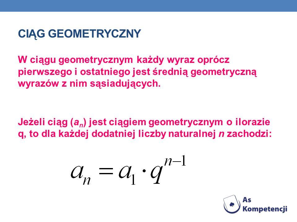 CIĄG GEOMETRYCZNY W ciągu geometrycznym każdy wyraz oprócz pierwszego i ostatniego jest średnią geometryczną wyrazów z nim sąsiadujących. Jeżeli ciąg