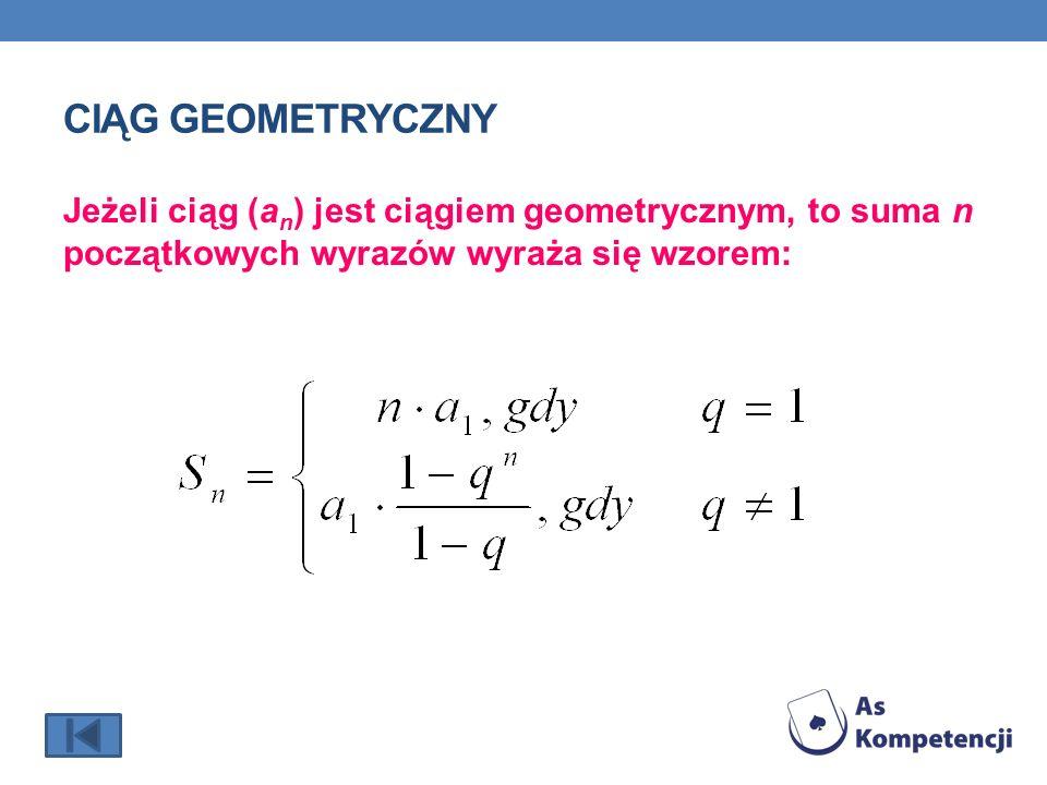 CIĄG GEOMETRYCZNY Jeżeli ciąg (a n ) jest ciągiem geometrycznym, to suma n początkowych wyrazów wyraża się wzorem: