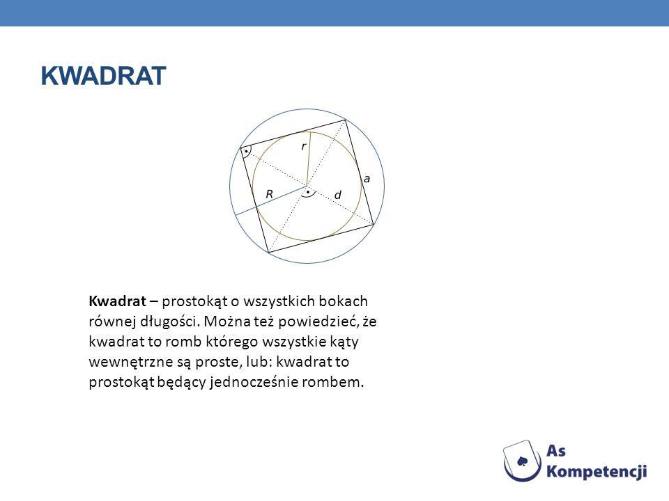 KWADRAT Kwadrat – prostokąt o wszystkich bokach równej długości. Można też powiedzieć, że kwadrat to romb którego wszystkie kąty wewnętrzne są proste,
