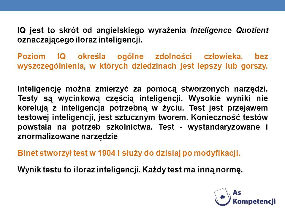 IQ jest to skrót od angielskiego wyrażenia Inteligence Quotient oznaczającego iloraz inteligencji. Poziom IQ określa ogólne zdolności człowieka, bez w
