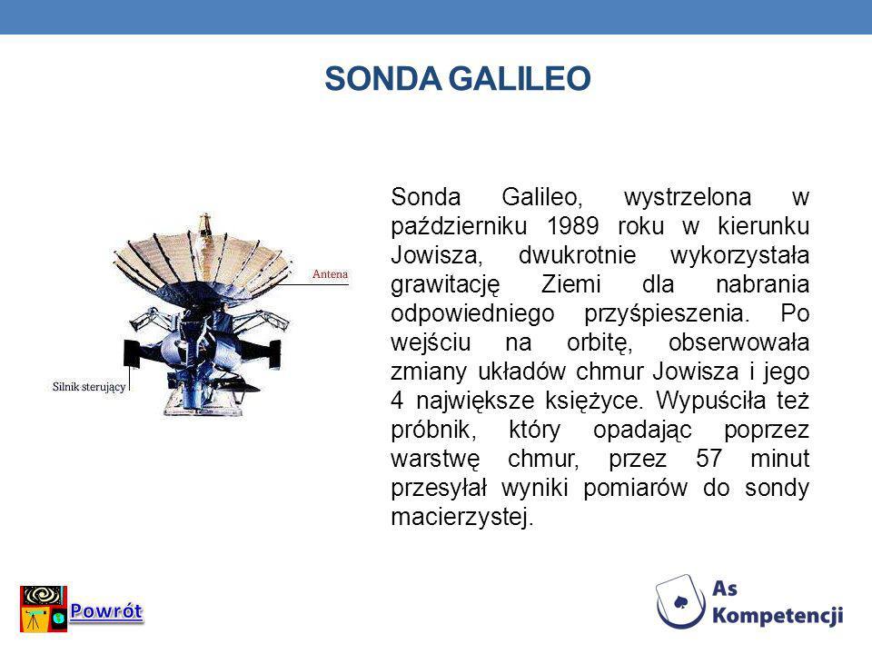 SONDA GALILEO Sonda Galileo, wystrzelona w październiku 1989 roku w kierunku Jowisza, dwukrotnie wykorzystała grawitację Ziemi dla nabrania odpowiedni