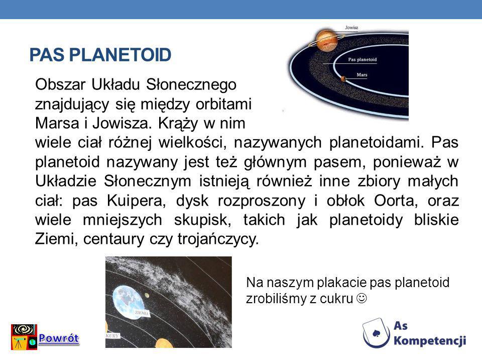 PAS PLANETOID Obszar Układu Słonecznego znajdujący się między orbitami Marsa i Jowisza. Krąży w nim wiele ciał różnej wielkości, nazywanych planetoida