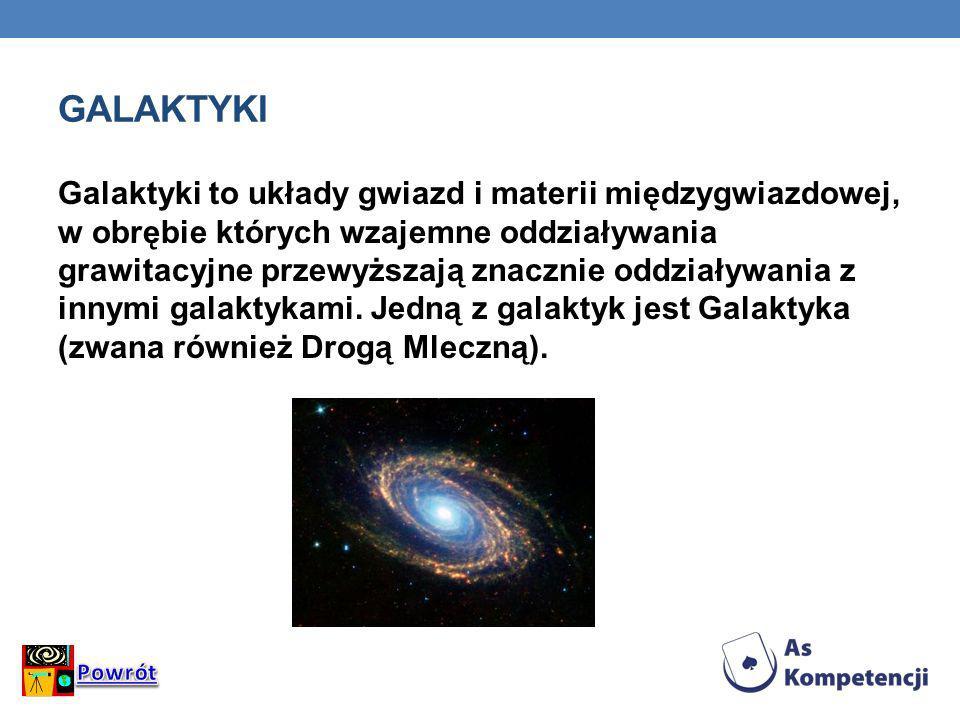 GALAKTYKI Galaktyki to układy gwiazd i materii międzygwiazdowej, w obrębie których wzajemne oddziaływania grawitacyjne przewyższają znacznie oddziaływ