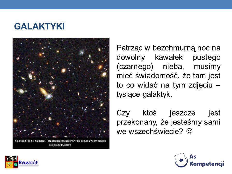 GALAKTYKI Patrząc w bezchmurną noc na dowolny kawałek pustego (czarnego) nieba, musimy mieć świadomość, że tam jest to co widać na tym zdjęciu – tysią