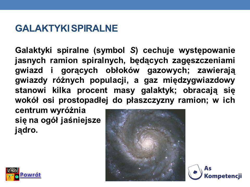 GALAKTYKI SPIRALNE Galaktyki spiralne (symbol S) cechuje występowanie jasnych ramion spiralnych, będących zagęszczeniami gwiazd i gorących obłoków gaz