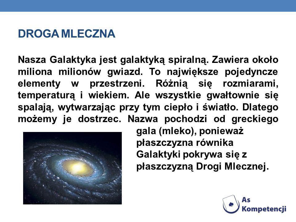 DROGA MLECZNA Nasza Galaktyka jest galaktyką spiralną. Zawiera około miliona milionów gwiazd. To największe pojedyncze elementy w przestrzeni. Różnią