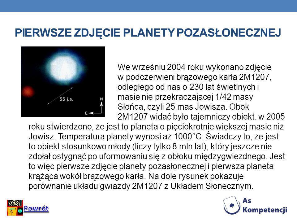 PIERWSZE ZDJĘCIE PLANETY POZASŁONECZNEJ We wrześniu 2004 roku wykonano zdjęcie w podczerwieni brązowego karła 2M1207, odległego od nas o 230 lat świet