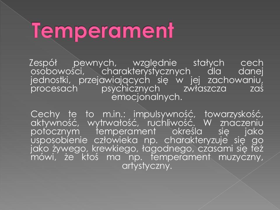 Zespół pewnych, względnie stałych cech osobowości, charakterystycznych dla danej jednostki, przejawiających się w jej zachowaniu, procesach psychicznych zwłaszcza zaś emocjonalnych.