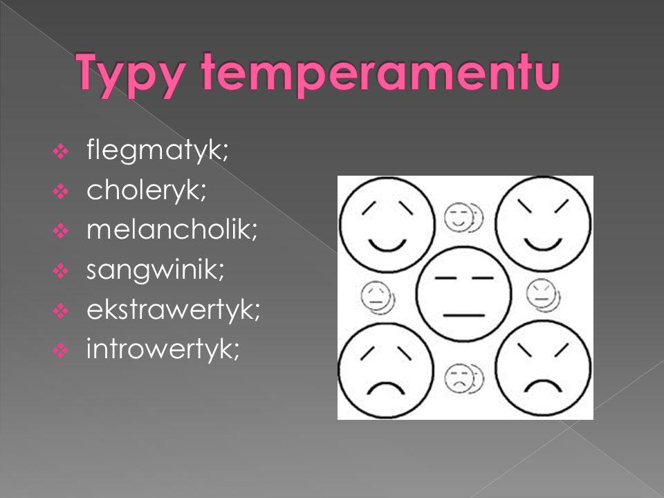 flegmatyk; choleryk; melancholik; sangwinik; ekstrawertyk; introwertyk;