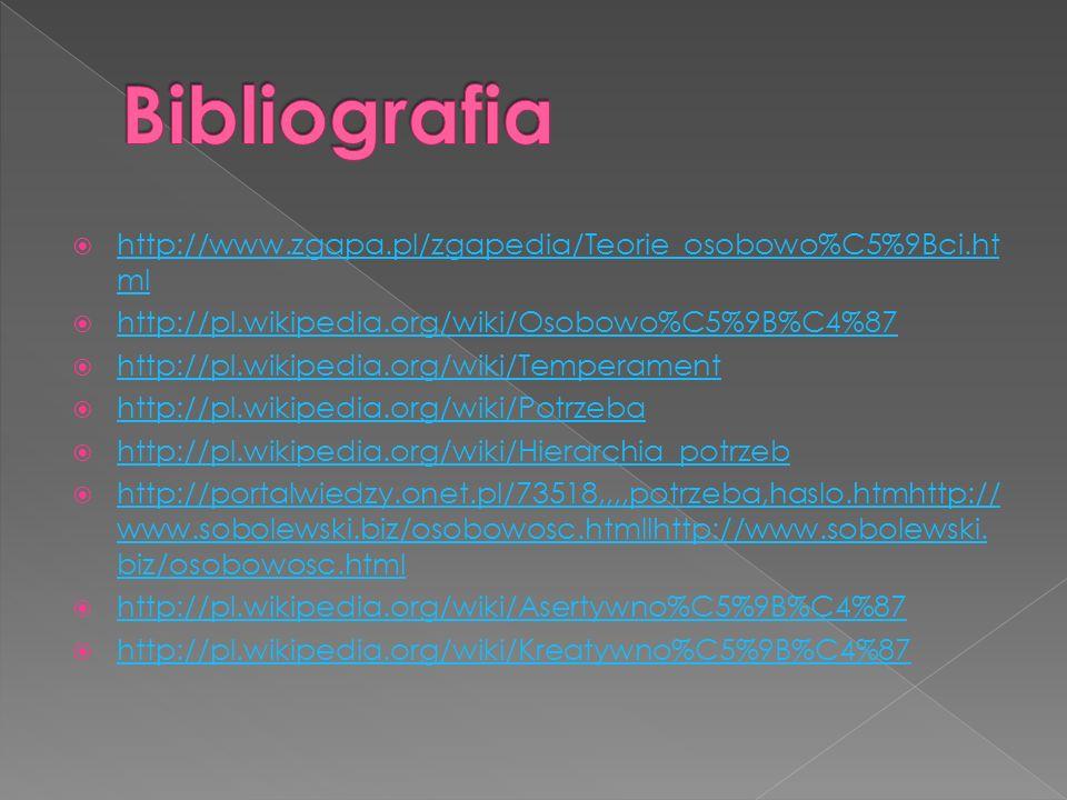 http://www.zgapa.pl/zgapedia/Teorie_osobowo%C5%9Bci.ht ml http://www.zgapa.pl/zgapedia/Teorie_osobowo%C5%9Bci.ht ml http://pl.wikipedia.org/wiki/Osobowo%C5%9B%C4%87 http://pl.wikipedia.org/wiki/Temperament http://pl.wikipedia.org/wiki/Potrzeba http://pl.wikipedia.org/wiki/Hierarchia_potrzeb http://portalwiedzy.onet.pl/73518,,,,potrzeba,haslo.htmhttp:// www.sobolewski.biz/osobowosc.htmllhttp://www.sobolewski.